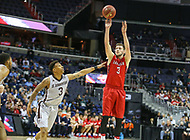 Washington, DC - March 10, 2018: Davidson Wildcats guard Jon Axel Gudmundsson (3) shoots a jump shot during the Atlantic 10 semi final game between St. Bonaventure and Davidson at  Capital One Arena in Washington, DC.   (Photo by Elliott Brown/Media Images International)