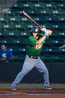 Jonathan Johnson (8) of the Savannah Sand Gnats at bat against the Hickory Crawdads at L.P. Frans Stadium on June 15, 2015 in Hickory, North Carolina.  The Crawdads defeated the Sand Gnats 4-1.  (Brian Westerholt/Four Seam Images)