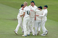 Luke Fletcher of Nottinghamshire is congratulated on taking the catch of Daniel Lawrence during Nottinghamshire CCC vs Essex CCC, Specsavers County Championship Division 1 Cricket at Trent Bridge on 10th September 2018