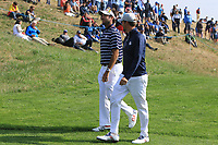 Bubba Watson and Webb Simpson (Team USA) walking to the 3rd tee during the Friday Foursomes at the Ryder Cup, Le Golf National, Ile-de-France, France. 28/09/2018.<br /> Picture Thos Caffrey / Golffile.ie<br /> <br /> All photo usage must carry mandatory copyright credit (© Golffile | Thos Caffrey)