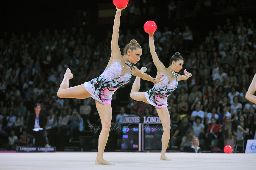 September 24, 2011; Montpellier, France;  Rhythmic group from Spain performs with 5-balls at 2011 World Championships Montpellier. Photo by Tom Theobald.