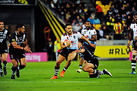 Fiji's Jarryd Hayne in action during the 2017 Rugby League World Cup quarterfinal match between New Zealand Kiwis and Fiji at Westpac Stadium in Wellington, New Zealand on Saturday, 18 November 2017. Photo: Mike Moran / lintottphoto.co.nz