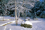 Undisturbed snow on the amphitheater at the Camden Public Library in Camden, Maine, USA