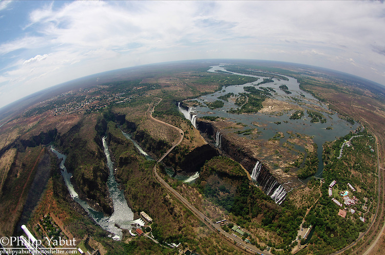 Victoria Falls, Zambia/Zimbabwe, from a helicopter using a fisheye lens