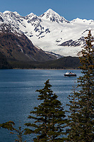 Spring landscape of Alaska State Ferry in Port Wells near Whittier with Chugach Mountains Alaska  <br /> <br /> (C) Jeff Schultz/SchultzPhoto.com