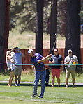 Justin Timberlake hits a chip shot during the ACC Golf Tournament at Edgewood Tahoe Golf Course in South Lake Tahoe on Sunday, July 14, 2019.