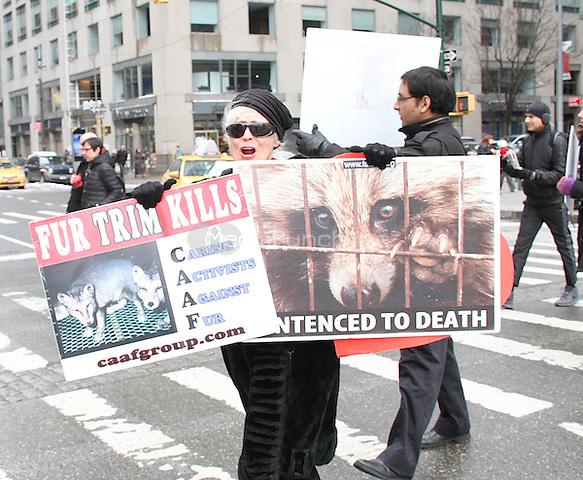 NEW YORK, NY - FEBRUARY 11: Anti-fur protesters heading to Bergdorf Goodman during New York Fashion Week (NYFW)   in New York, New York on February 11, 2017.  Photo Credit: Rainmaker Photo/MediaPunch