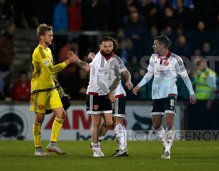 Sheffield Utd players celebrate the win - English League One - Scunthorpe Utd vs Sheffield Utd - Glandford Park Stadium - Scunthorpe - England - 19th December 2015 - Pic Simon Bellis/Sportimage