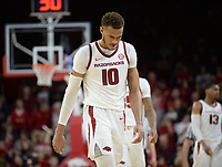 NWA Democrat-Gazette/ANDY SHUPE<br /> Arkansas forward Daniel Gafford walks to the bench in the closing moments of regulation against LSU Friday, Jan. 11, 2019, during the second half of play in Bud Walton Arena in Fayetteville. Visit nwadg.com/photos to see more photographs from the game.