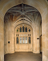 Entrance porch to the House of Lords, its vaulted ceiling complete with carved, floral bosses