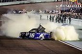 #16: Brett Moffitt, Hattori Racing Enterprises, Toyota Tundra AISIN Group, burnout