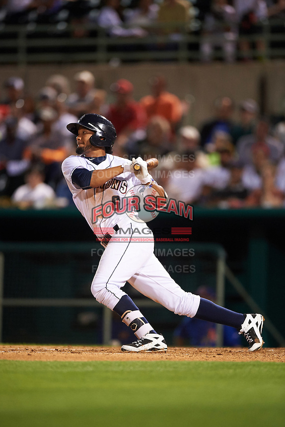 San Antonio Missions shortstop Jose Rondon (6) at bat during a game against the Midland RockHounds on April 22, 2016 at Nelson W. Wolff Municipal Stadium in San Antonio, Texas.  San Antonio defeated Midland 8-4.  (Mike Janes/Four Seam Images)