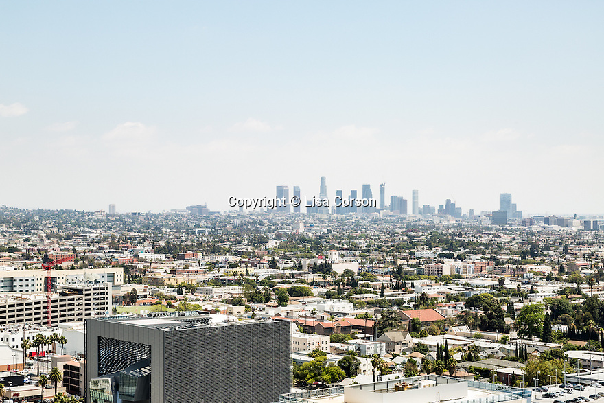 A view of downtown Los Angeles from the rooftop at the Hollywood Proper Residences. Los Angeles, Calif. May 26, 2016.