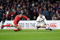 Jonny May of England looks to gather the ball over the Wales try-line. Natwest 6 Nations match between England and Wales on February 10, 2018 at Twickenham Stadium in London, England. Photo by: Patrick Khachfe / Onside Images