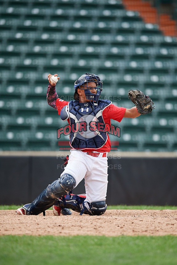 Brayant Henriquez (8) throws the ball back to the during the Dominican Prospect League Elite Underclass International Series, powered by Baseball Factory, on July 21, 2018 at Schaumburg Boomers Stadium in Schaumburg, Illinois.  (Mike Janes/Four Seam Images)