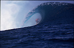 Teahupoo, Tahiti. May 2000. Mick Campbell of Australia gets tubed during the GOTCHA PRO 2000 at Teahupoo.