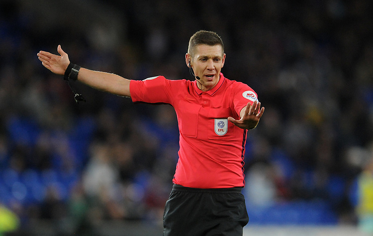 Referee Matt Donohue during the game <br /> <br /> Photographer Ian Cook/CameraSport<br /> <br /> The EFL Sky Bet Championship - Cardiff City v Queens Park Rangers - Wednesday 2nd October 2019  - Cardiff City Stadium - Cardiff<br /> <br /> World Copyright © 2019 CameraSport. All rights reserved. 43 Linden Ave. Countesthorpe. Leicester. England. LE8 5PG - Tel: +44 (0) 116 277 4147 - admin@camerasport.com - www.camerasport.com