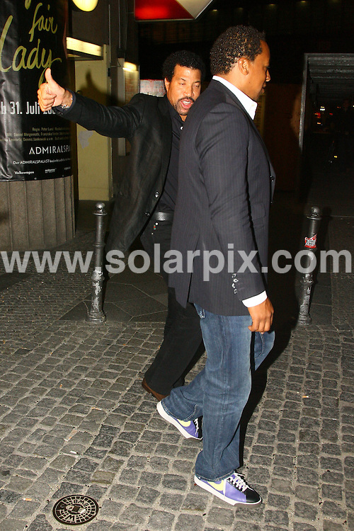 **ALL ROUND EXCLUSIVE PICTURES FROM SOLARPIX.COM**.**SYNDICATION RIGHTS FOR UK AND SPAIN ONLY**.The American singer Lionel Richie pictured after dinner at the restaurant San Nicci was companied by a mystery woman in Berlin in Germany. .This pic:Lionel Richie..JOB REF:7309-CPR/CAP/dfd       DATE:11_09_08.**MUST CREDIT SOLARPIX.COM OR DOUBLE FEE WILL BE CHARGED* *UNDER NO CIRCUMSTANCES IS THIS IMAGE TO BE REPRODUCED FOR ANY ONLINE EDITION WITHOUT PRIOR PERMISSION*