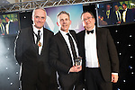 © Joel Goodman - 07973 332324 . 03/03/2016 . Manchester , UK . Michael Hardacre , president of Manchester Law Society , Team of the Year crime (obo Olliers Solicitors ) MATTHEW CLAUGHTON (centre) . The Manchester Legal Awards from the Midland Hotel . Photo credit : Joel Goodman