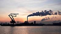 Nederland - Amsterdam - 2019. Noordzeekanaal. De haven van Amsterdam. De kolencentrale van Nuon aan de Hemweg. Kraan van Maja Stuwadoors.  Foto Berlinda van Dam / Hollandse Hoogte