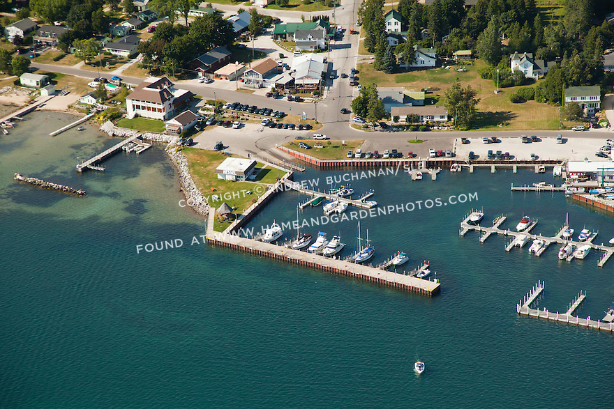 homes and businesses in Hessel, and Hessel town marina, Hessel, MI