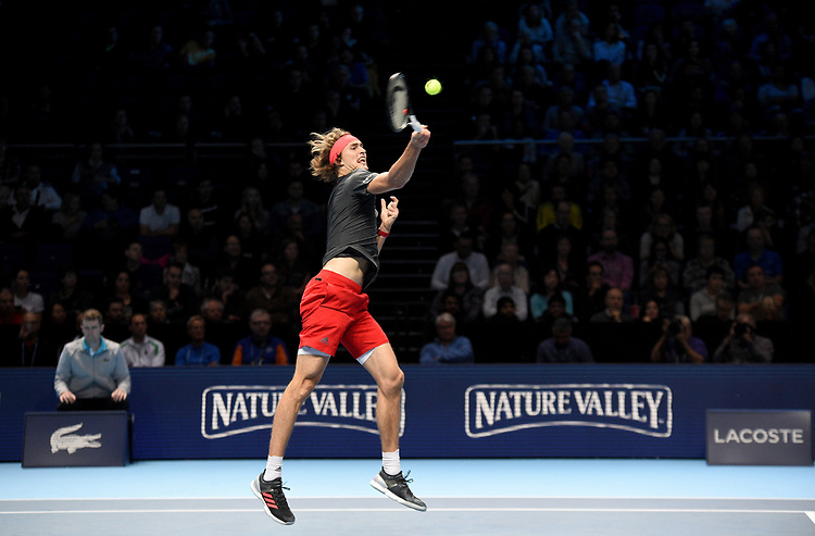 Alexander Zverev (GER) in action against Marin Cilic (CRO) in their Group Guga Kuerten match<br /> <br /> Photographer Hannah Fountain/CameraSport<br /> <br /> International Tennis - Nitto ATP World Tour Finals Day 2 - O2 Arena - London - Monday 12th November 2018<br /> <br /> World Copyright © 2018 CameraSport. All rights reserved. 43 Linden Ave. Countesthorpe. Leicester. England. LE8 5PG - Tel: +44 (0) 116 277 4147 - admin@camerasport.com - www.camerasport.com