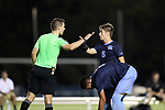 CARY, NC - OCTOBER 06: Referee David Breckner warns UNC's Cam Lindley (6). The University of North Carolina Tar Heels hosted the Wake Forest University Demon Deacons on October 6, 2017 at Koka Booth Field at WakeMed Soccer Park in Cary, NC in a Division I college soccer game.