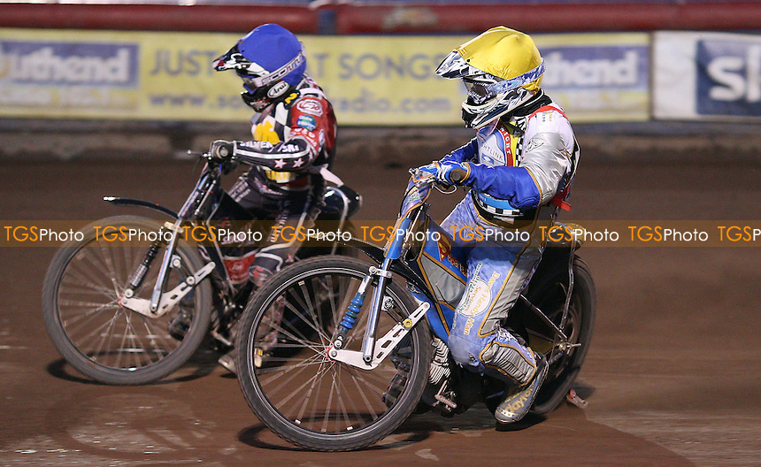 Rob Smith (yellow) and Ben Morley (blue) - Hackney Hawks vs Isle of Wight Islanders - National League Speedway at Arena Essex Raceway - 08/07/11 - MANDATORY CREDIT: Rob Newell/TGSPHOTO - Self billing applies where appropriate - 0845 094 6026 - contact@tgsphoto.co.uk - NO UNPAID USE.