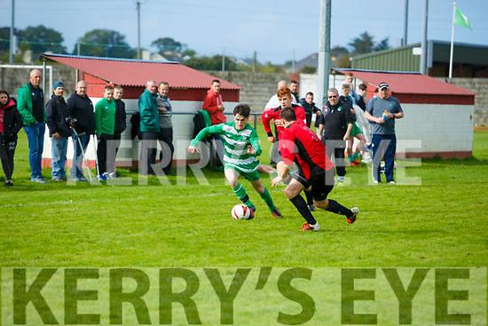 In Action Celtic's Jamie Spillane and Dynamos Sean Foley and Jonathan Hannafin at the  Tralee Dynamos v Killarney Celtic at Cahermoneen on Sunday