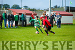 In Action Celtic's Jamie Spillane and Dynamos Sean Foley and Jonathan Hannafin at the  Tralee Dynamos v Killarney Celtic at Cahermoneen on Sunday
