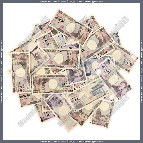 Japanese Yen pile of money bills, closeup of currency isolated on white background