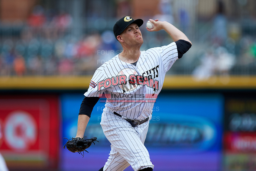 Charlotte Knights relief pitcher Aaron Bummer (31) in action against the Indianapolis Indians at BB&T BallPark on August 22, 2018 in Charlotte, North Carolina.  The Indians defeated the Knights 6-4 in 11 innings.  (Brian Westerholt/Four Seam Images)