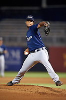 Lakeland Flying Tigers starting pitcher Fernando Perez (39) delivers a pitch during the second game of a doubleheader against the Tampa Tarpons on May 31, 2018 at George M. Steinbrenner Field in Tampa, Florida.  Lakeland defeated Tampa 3-2.  (Mike Janes/Four Seam Images)