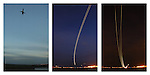 A triptych of three images of planes taking off from Washington's Reagan National Airport as seen from Gravelly Point Park.