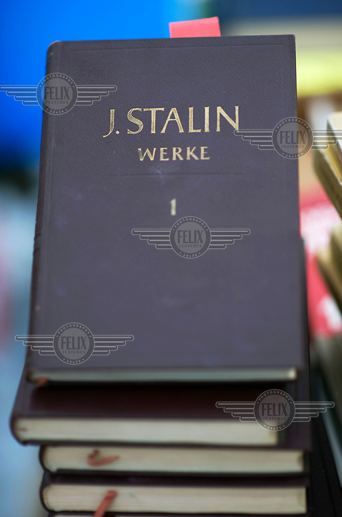 Stalin's political writings for sale at the Rosa Luxemburg Conference, an annual event sponsored by Germany's leading communist newspaper, Junge Welt.
