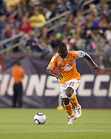 Houston Dynamo midfielder Anthony Obodai (35) brings the ball forward. The New England Revolution defeated Houston Dynamo, 1-0, at Gillette Stadium on August 14, 2010.