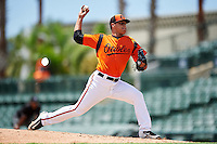 GCL Orioles relief pitcher Matt De La Rosa (53) during a game against the GCL Red Sox on August 16, 2016 at the Ed Smith Stadium in Sarasota, Florida.  GCL Red Sox defeated GCL Orioles 2-0.  (Mike Janes/Four Seam Images)