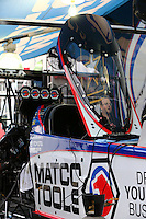 Mar 29, 2014; Las Vegas, NV, USA; Detailed view of the canopy on the car of NHRA top fuel driver Antron Brown during qualifying for the Summitracing.com Nationals at The Strip at Las Vegas Motor Speedway. Mandatory Credit: Mark J. Rebilas-