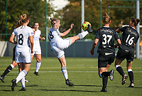 20190921 – LEUVEN, BELGIUM : OHL's Stefanie Deville is pictured kicking the ball during a women soccer game between  Oud Heverlee Leuven Ladies B and Eendracht Aalst Ladies on the fourth matchday of the Belgian Division 1 season 2019-2020, the Belgian women's football  national division 1, Saturday 21th September 2019 at the Bruinveld Youth Complex, Domeinstraat in Leuven , Belgium. PHOTO SPORTPIX.BE | SEVIL OKTEM