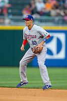Buffalo Bisons second baseman Ryan Goins (10) on defense against the Charlotte Knights at BB&T Ballpark on May 9, 2014 in Charlotte, North Carolina.  The Knights defeated the Bisons 5-3.  (Brian Westerholt/Four Seam Images)