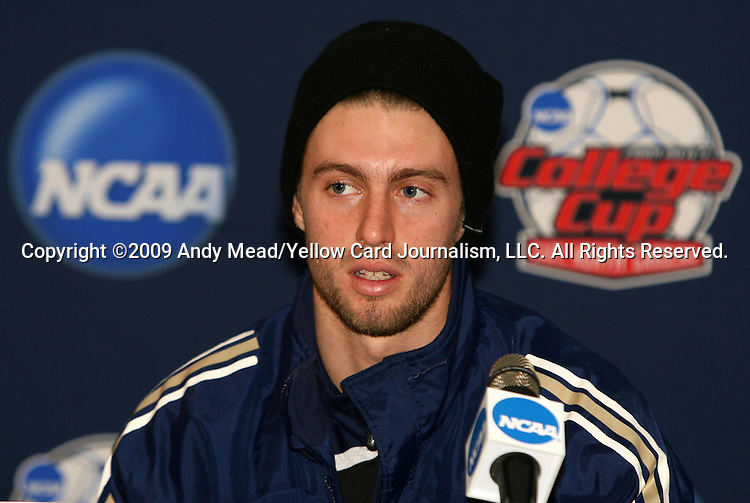 12 December 2009: Blair Gavin. The University of Akron Zips held a press conference at WakeMed Soccer Stadium in Cary, North Carolina on the day before playing Virginia in the NCAA Division I Men's College Cup championship game.