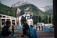 Christopher Juul-Jensen (DEN/Mitchelton-Scott) & DS Matt White enjoying an early morning coffee outside (at 7.30am) ahead of the last mountain stage<br /> <br /> stage 20: Susa - Cervinia (214km)<br /> 101th Giro d'Italia 2018