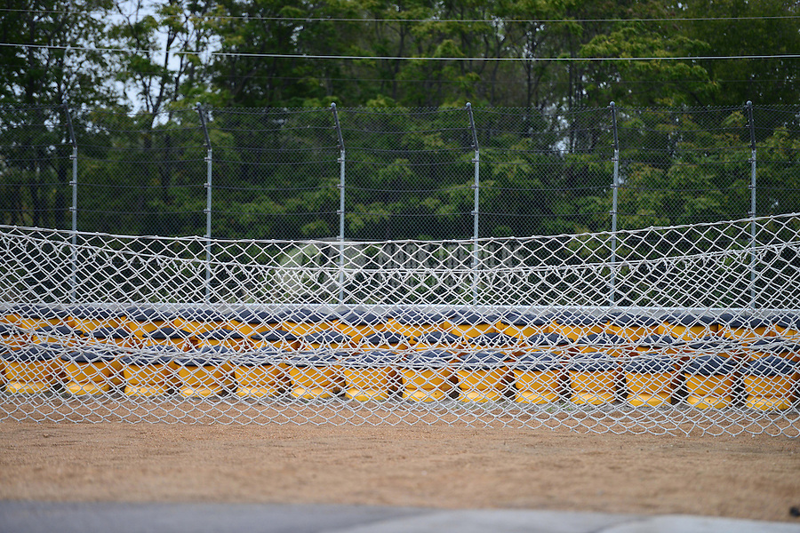 Sept. 30, 2012; Madison, IL, USA: Detailed view of the NHRA sand trap and catch net containment system at the end of the track during the Midwest Nationals at Gateway Motorsports Park. Mandatory Credit: Mark J. Rebilas-