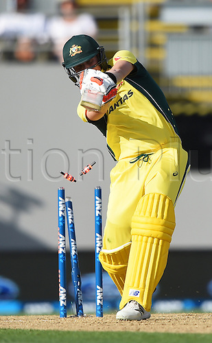 03.02.2016. Auckland, New Zealand.  Australian captain Steve Smith is bowled by Henry. New Zealand Black Caps versus Australia, Chappell Hadlee Trophy and ANZ ODI Cricket Series. Eden Park, Auckland, New Zealand.