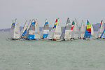 SMALL CATAMARANS,(aka)HOBIE CATS SAIL on the CALM WATERS of the GULF of CALIFORNIA