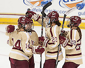 Emily Pfalzer (BC - 14), Haley McLean (BC - 13), Andie Anastos (BC - 23), Haley Skarupa (BC - 22) - The Boston College Eagles defeated the visiting University of Maine Black Bears 5 to 1 on Sunday, October 6, 2013, in their Hockey East season opener at Kelley Rink in Conte Forum in Chestnut Hill, Massachusetts.