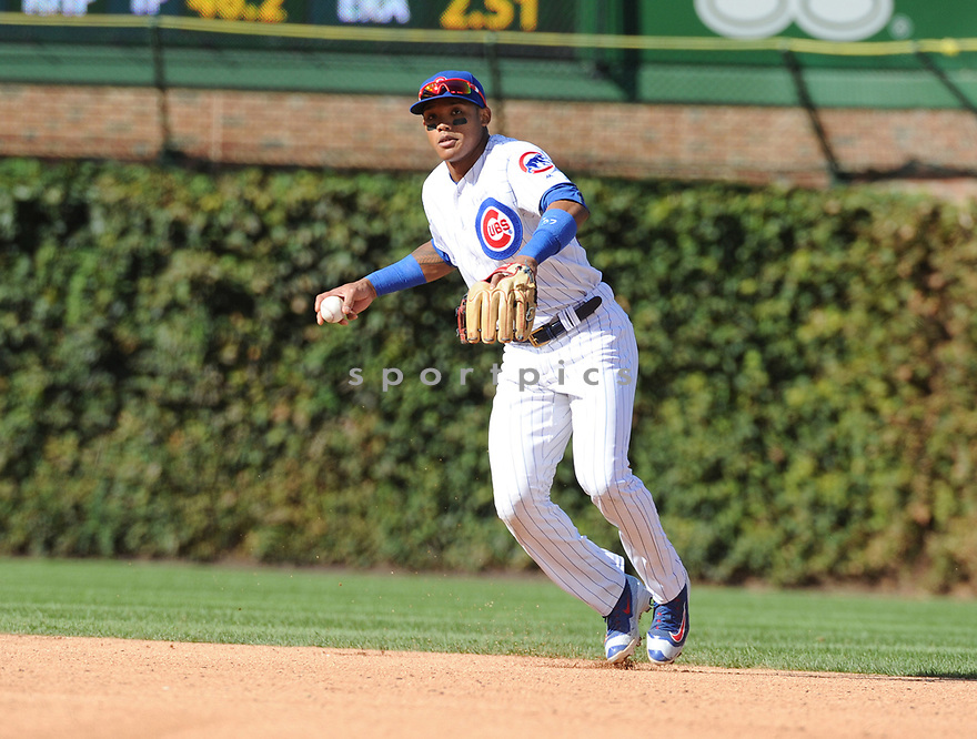 Chicago Cubs Addison Russell (27) during a game against the Milwaukee Brewers on September 17, 2016 at Wrigley Field in Chicago, IL. The Brewers beat the Cubs 11-3.