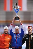 SCHAATSEN: ERFURT: Gunda Niemann Stirnemann Eishalle, 21-03-2015, ISU World Cup Final 2014/2015, Final Podium 1000m Men, Kjeld Nuis (NED), Pavel Kulizhnikov (RUS), Nico Ihle (GER), ©foto Martin de Jong