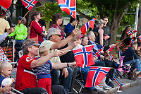 Crowd waving Norwegian Flags, 17th of May Festival 2016, Norway's Constitution Day, Ballard, Seattle, WA, USA.