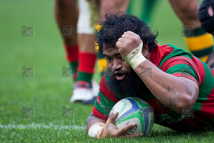 Simon Lemalu punches the air after scoring Waiuku's first try. Counties Manukau McNamara Cup Premier Club Rugby final between Pukekohe andWaiuku, held at Bayer Growers Stadium, on Saturday July 17th. Waiuku won 25 - 20.